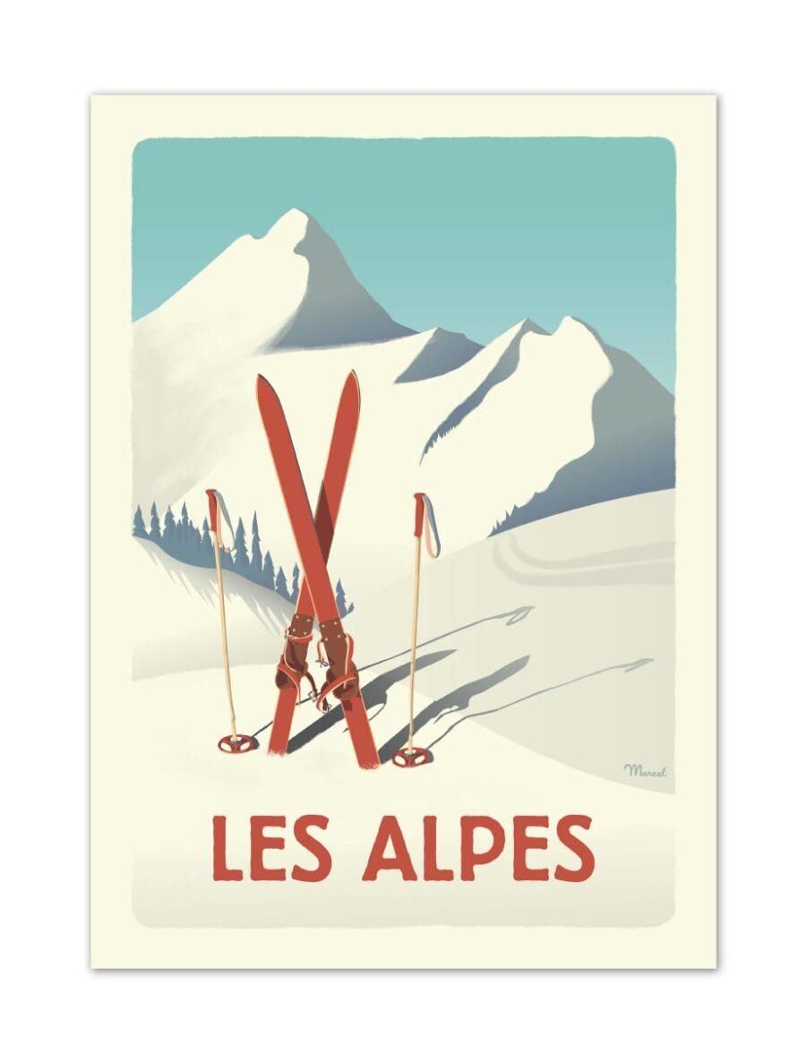Affiche - Les Alpes - Ski